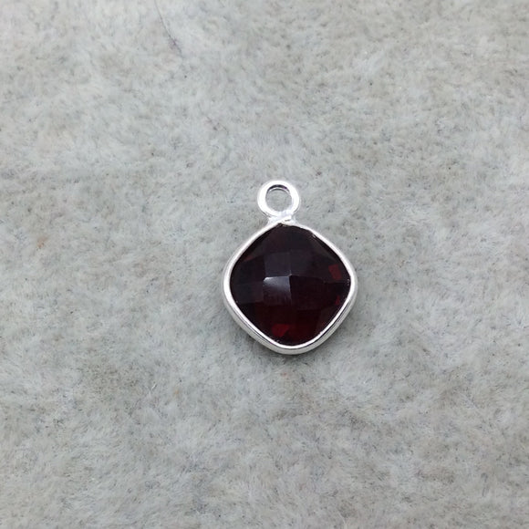 Sterling Silver Faceted Deepest Red (Lab Created) Quartz Diamond Shaped Bezel Pendant - Measuring 10mm x 10mm - Sold Individually