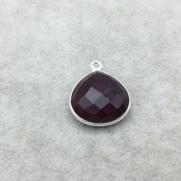 Sterling Silver Faceted Deepest Red (Lab Created) Quartz Heart Shaped Bezel Pendant - Measuring 18mm x 18mm - Sold Individually