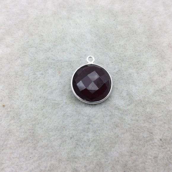 Sterling Silver Faceted Deepest Red (Lab Created) Quartz Round Shaped Bezel Pendant - Measuring 18mm x 18mm - Sold Individually