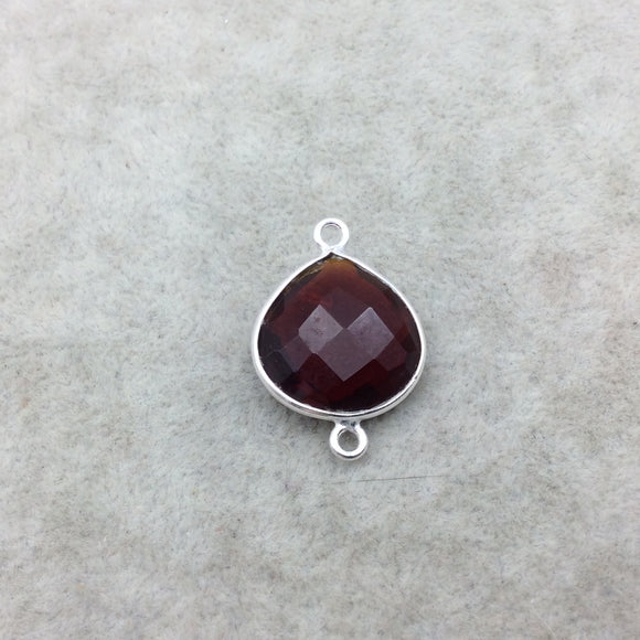Sterling Silver Faceted Deepest Red (Lab Created) Quartz Heart Shaped Bezel Connector - Measuring 18mm x 18mm - Sold Individually