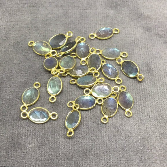 BULK LOT - Pack of Six (6) Gold Sterling Silver Pointed/Cut Stone Faceted Oval Shaped Labradorite Bezel Connectors - Measuring 5mm x 7mm