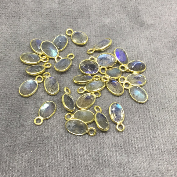 BULK LOT - Pack of Six (6) Gold Sterling Silver Pointed/Cut Stone Faceted Oval Shaped Labradorite Bezel Pendants - Measuring 4mm x 6mm