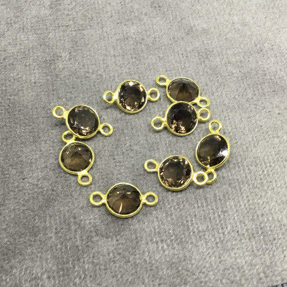 BULK PACK of Six (6) Gold Sterling Silver Pointed/Cut Stone Faceted Round/Coin Shaped Smoky Quartz Bezel Connectors - Measuring 6 x 6mm