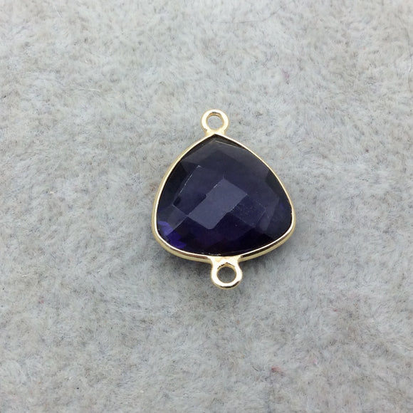 Gold Vermeil Faceted Amethyst Purple Hydro (Lab Created) Quartz Trillion Shaped Bezel Connector - Measuring 15mm x 15mm - Sold Individually