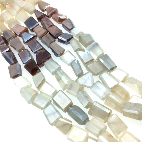 8-10mm x 8-12mm Natural Faceted Mixed Peach, Gray & White Moonstone Nugget Beads - Sold by 15