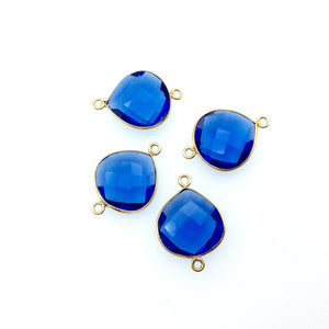 Gold Plated Faceted Hydro (Lab Created) Transparent Cobalt Heart/Teardrop Shaped Bezel Connector - Measuring 19mm x 19mm - Sold Individually