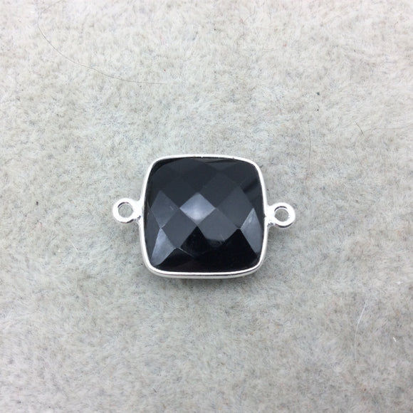 Sterling Silver Faceted Square Shaped Jet Black Hydro (Man-made) Onyx Bezel Connector - Measuring 15mm x 15mm - Sold Individually