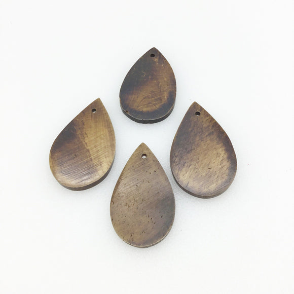 20mm x 30mm Brown Teardrop Shaped Lightweight Natural Ox Bone Pendant Component (Single-Drilled)