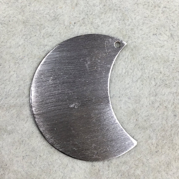 30mm x 40mm Gunmetal Plated Copper Blank Moon/Crescent Shaped Drilled Components (One Hole) - Sold in Packs of 10 (300-GD)