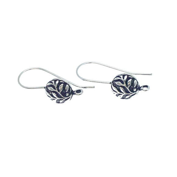 10mm x 21mm - Silver Plated Copper Round Leaf Shape - High Quality Earring Wire - Two Pairs Per Pack (Four Pieces Total)