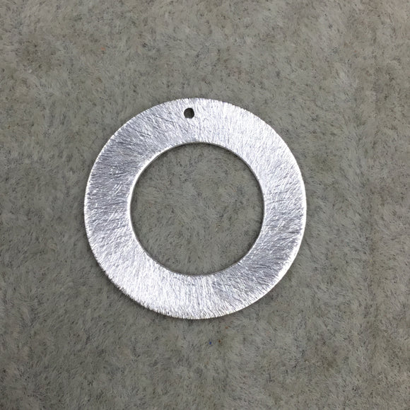 50mm Silver Brushed Finish Thick Open CircleRing Shaped Plated Brass Components Sold in Pre-Counted Bulk Packs of 10 Pieces 022-SV