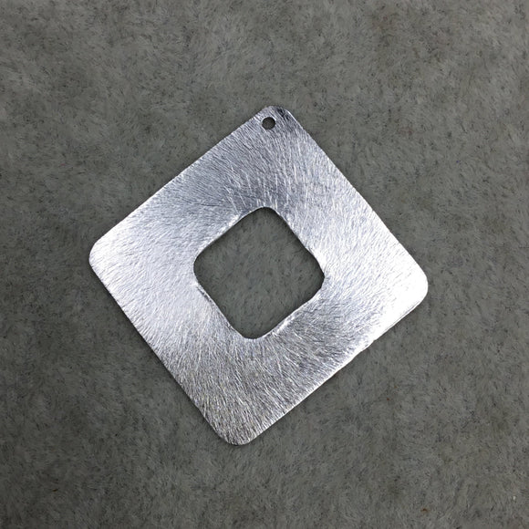40mm x 40mm Silver Brushed Finish Thick Open Diamond Shaped Plated Copper Components - Sold in Pre-Counted Bulk Packs of 10 Pieces (583-SV)