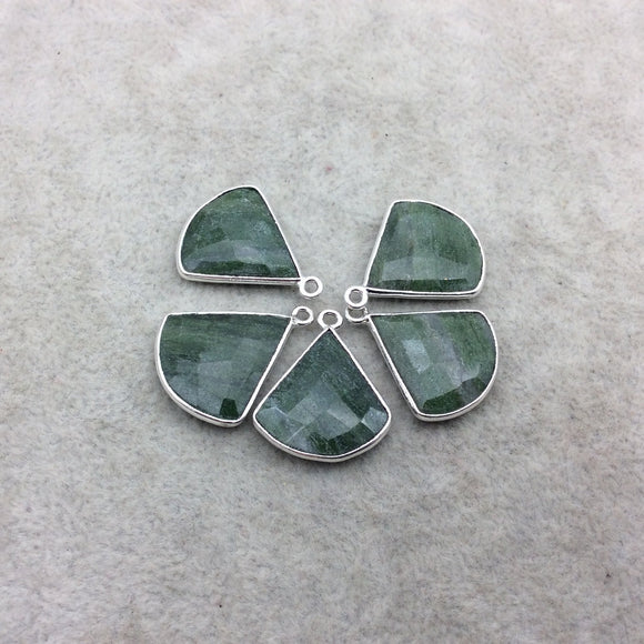 Silver Finish Faceted Green Aventurine Fan Shape Bezel - Plated Copper Pendant Component ~ 18mm x 18mm - Sold Individually