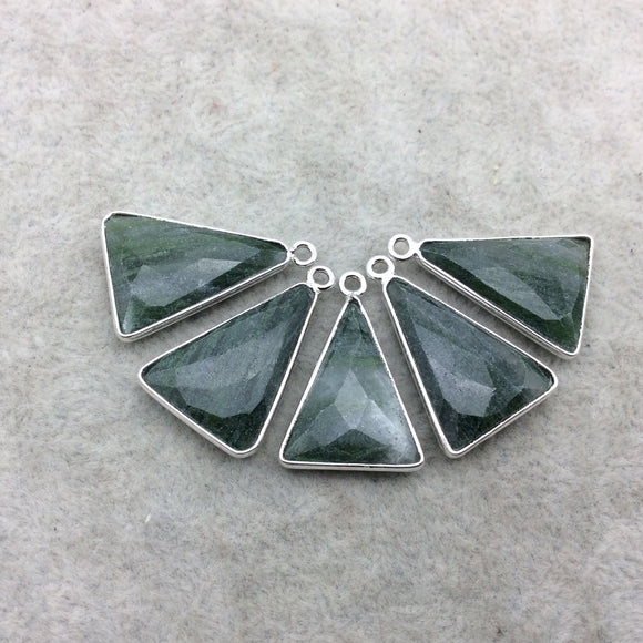 Silver Finish Faceted Green Aventurine Triangle Shape Bezel - Plated Copper Pendant Component ~ 15mm x 20mm - Sold Individually
