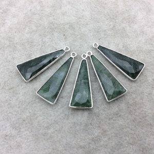 Silver Finish Faceted Green Aventurine Triangle Shape Bezel - Plated Copper Pendant Component ~ 10mm x 25mm - Sold Individually