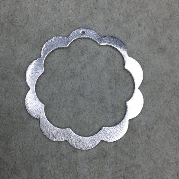 50mm x 52mm Large Sized Silver Plated Copper Thick Open Scalloped Flower Blossom Shaped Components - Sold in Packs of 10 (586-SV)