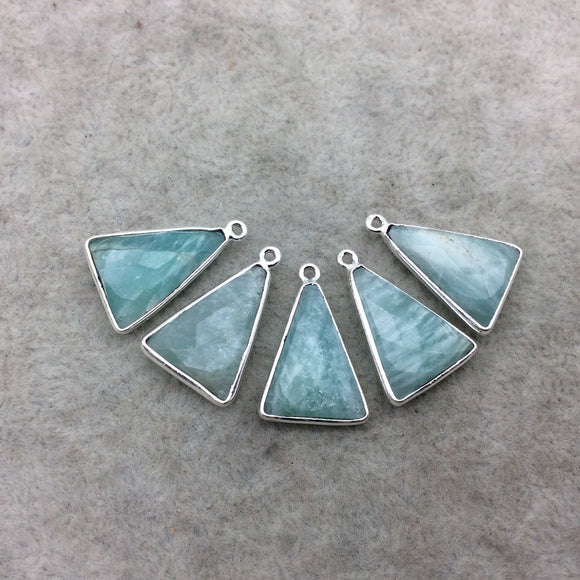 Silver Finish Faceted Green Amazonite Triangle Shape Bezel - Plated Copper Pendant Component ~ 12mm x 18mm - Sold Individually