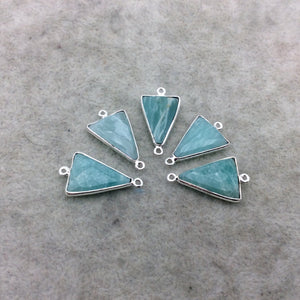 Silver Finish Faceted Green Amazonite Triangle Shape Bezel - Plated Copper Connector Component ~ 12mm x 18mm - Sold Individually