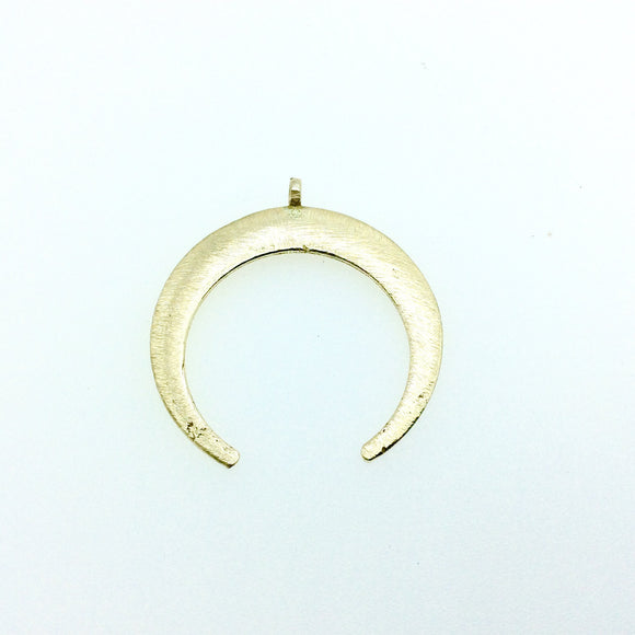 39mm x 42mm, 1.5mm Thick Gold Plated Copper Thick Crescent Shaped Pendant Components (One Ring) - Sold Individually