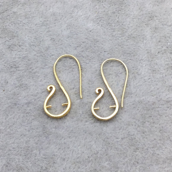 13mm x 32mm - 18k Gold Overlay 20 Gauge 'S' Shape with Inside Prongs - High Quality Earring Wire - 2 Pairs Per Pack (4 Pieces Total)
