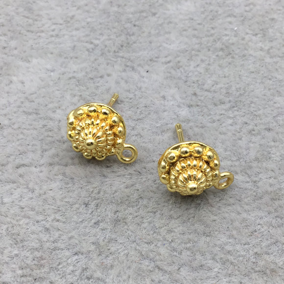 9mm - 18k Gold Overlay Round Pyramid Embossed Post Clip With Loop - High Quality Earring Finding - 1 Pairs Per Pack (2 Pieces Total)