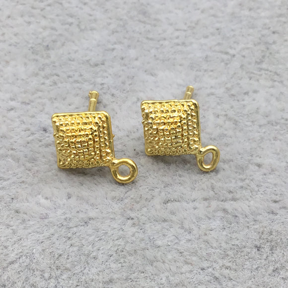 18k Gold Overlay 7mm Kite Shape with Loop Post Clip - High Quality Earring Finding - One Pairs Per Pack (Two Pieces Total)