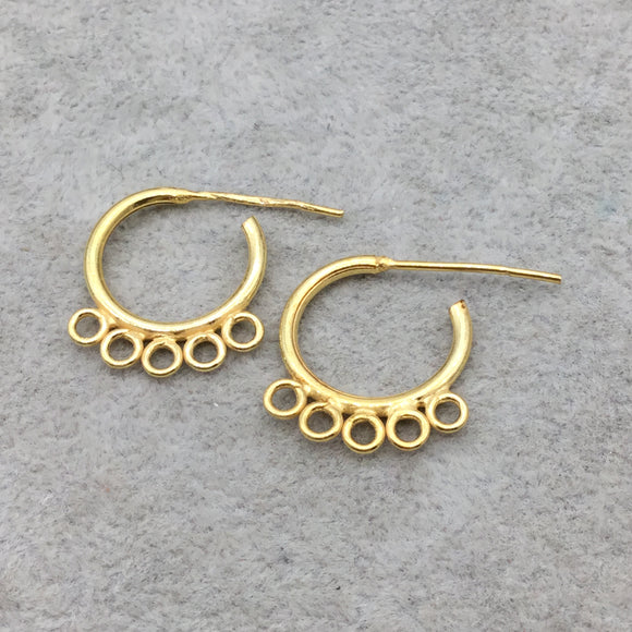 23mm x 23mm 18k Gold Overlay Hoop Shape Chandelier High Quality Earring Finding - 1 Pairs Per Pack (2 Pieces Total)