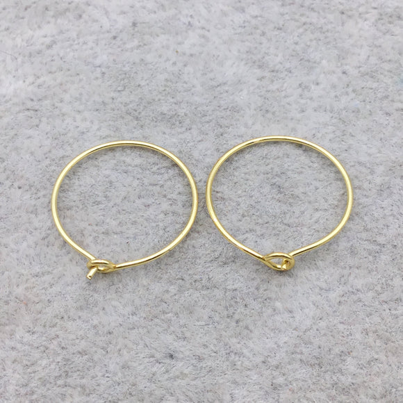 20mm x 20mm - 18k Gold Overlay Circle Shape - High Quality Earring Wire - Eight Pairs Per Pack (Sixteen Pieces Total)