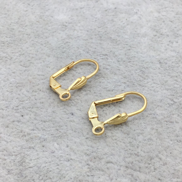 15mm x 22mm - 18k Gold Overlay Shell Shaped Lever Back with Loop - High Quality Earring Finding - Two Pairs Per Pack (Four Pieces Total)