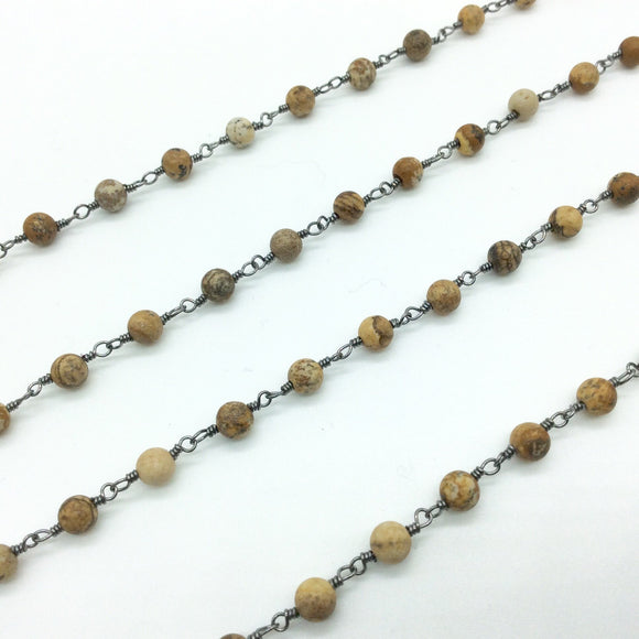 Gunmetal Plated Copper Rosary Chain with Smooth 4mm Round Shape Picture Jasper Beads - Sold by the Foot, or in Bulk! - Natural Beaded Chain