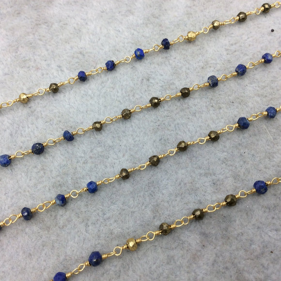 Gold Plated Copper Wrapped Rosary Chain with 3-4mm Faceted Gold Pyrite/Lapis Lazuli Rondelle Beads - Sold by 1' Cut Sections or in Bulk!