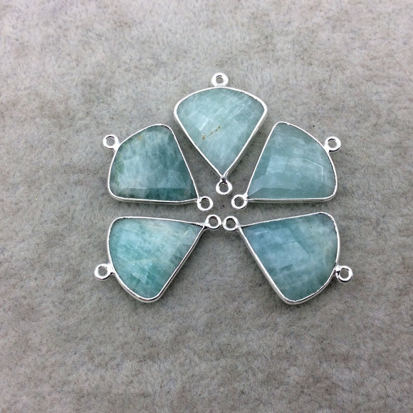 Silver Finish Faceted Green Amazonite Fan Shape Bezel - Plated Copper Connector Component ~ 18mm x 18mm - Sold Individually