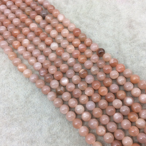6mm Smooth Peach Moonstone Round/Ball Shaped Beads with 1mm Holes - 15