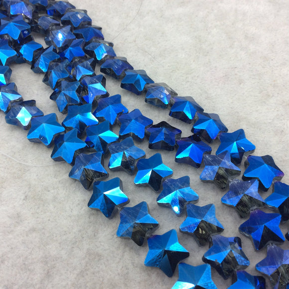 Chinese Crystal Beads | 13mm x 13mm Glossy Faceted Transparent Metallic Blue  Crystal Glass Star Shaped Beads