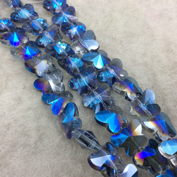 Chinese Crystal Beads | 12mm x 15mm Glossy Faceted Transparent Metallic Blue Purple Glass Butterfly Shaped Beads