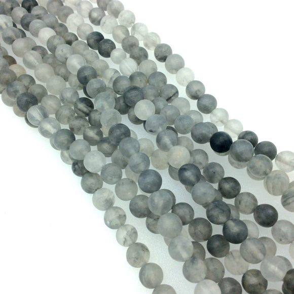 6mm Smooth Mixed Gray Agate Round/Ball Shaped Beads - 15.5