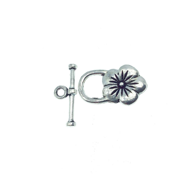 Silver Plated Flower Toggle Clasp - Measuring 14mm x 21mm - Sold Individually, Chosen at Random