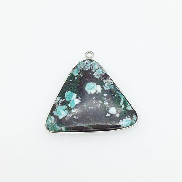 OOAK Silver Plated Stabilized Brazilian Turquoise Freeform Shaped Bezel Pendant