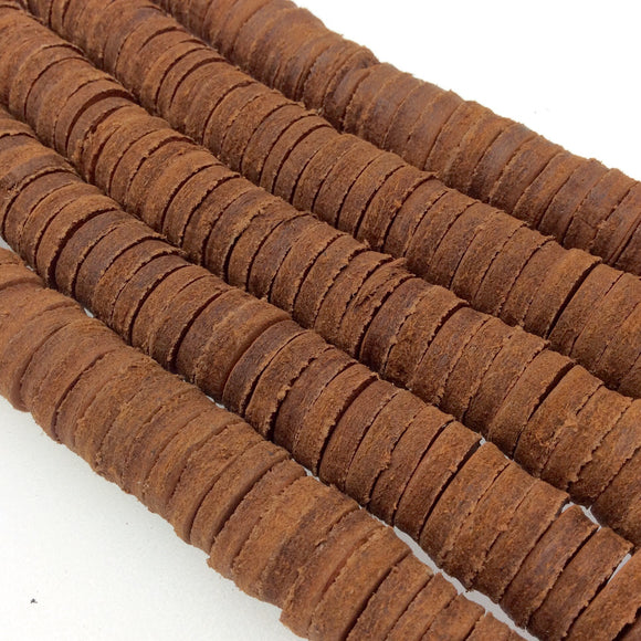 15mm Cinnamon Brown Colored Suede Leather Heishi/Disc Beads with 2mm Holes - 15.5