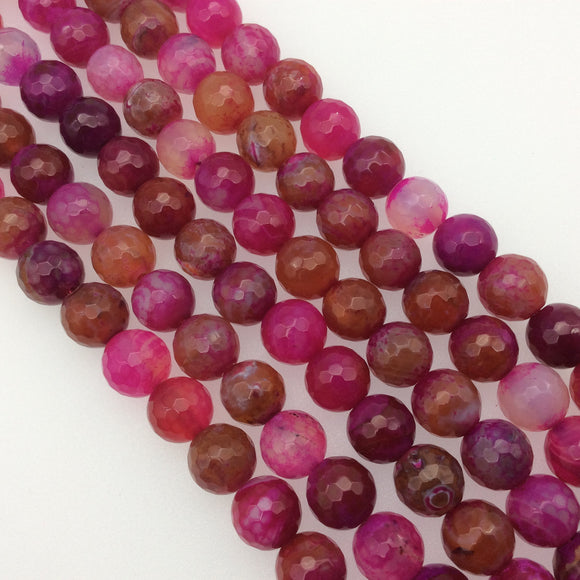 12mm Faceted Mixed Fuchsia Agate Round/Ball Shaped Beads - 15