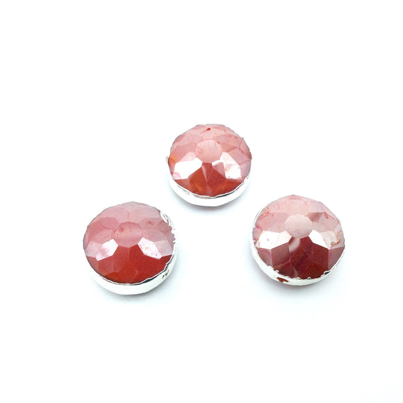 Silver Electroplated Faceted Opaque Orange Red Crystal Round/Coin Shaped Bead  - 14mm - Sold Individually, At Random - High Quality Crystal