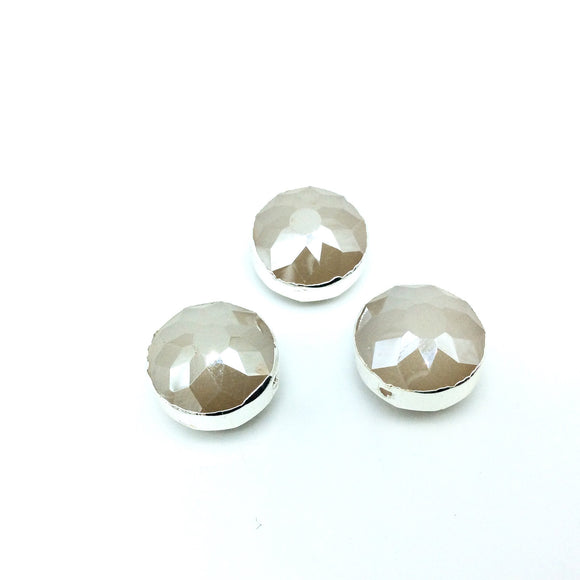 Silver Electroplated Faceted Translucent Beige Crystal Round/Coin Shaped Bead - 14mm - Sold Individually, At Random - High Quality Crystal