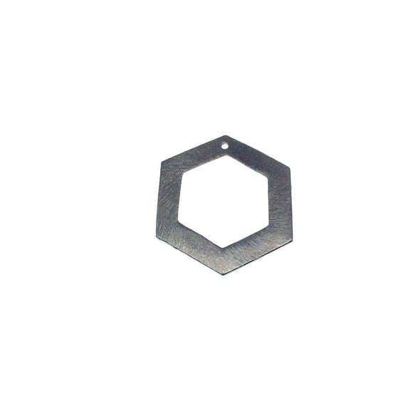 Large Gunmetal Plated Copper Open Cutout Thick Hex/Hexagon Shaped Components - Measuring 26mm x 30mm - Sold in Packs of 10 (183-GD)