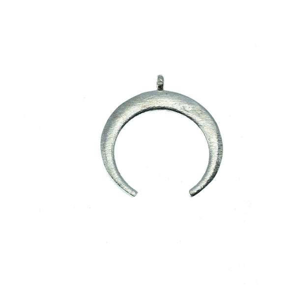 30mm x 33mm, 1.5mm Thick Silver Plated Copper Thick Crescent Shaped Pendant Components (One Ring) - Sold Individually