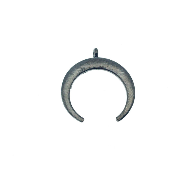 30mm x 33mm, 1.5mm Thick Gunmetal Plated Copper Thick Crescent Shaped Pendant Components (One Ring) - Sold Individually