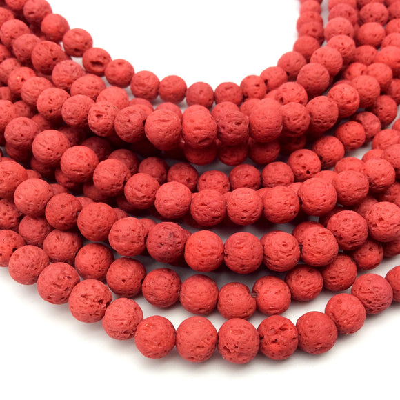 "6mm Bright Red Colored Volcanic Lava Rock Round/Rondelle Shaped Diffuser Beads w/ 1.5mm Holes - Sold by 15"" Strands (Approx. 65 Beads)"