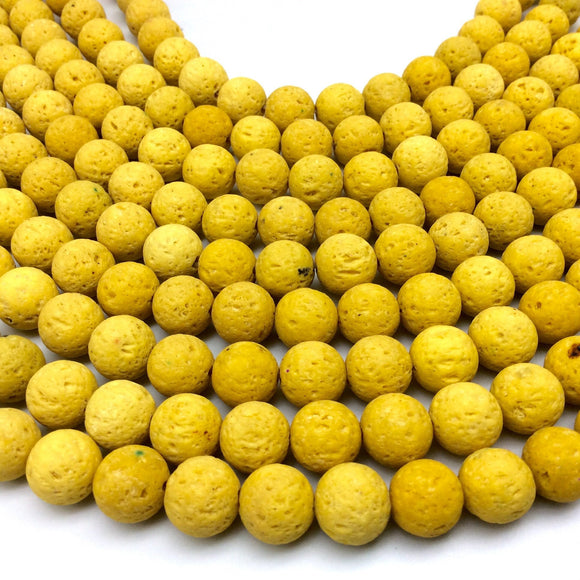 10mm Bright Yellow Colored Volcanic Lava Rock Round/Rondelle Shaped Diffuser Beads w/ 1.5mm Holes - Sold by 15