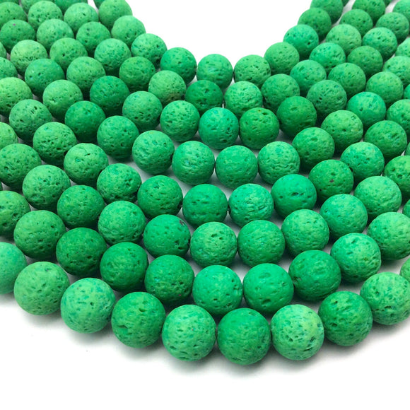 10mm Neon Green Colored Volcanic Lava Rock Round/Rondelle Shaped Diffuser Beads w/ 1.5mm Holes - Sold by 15