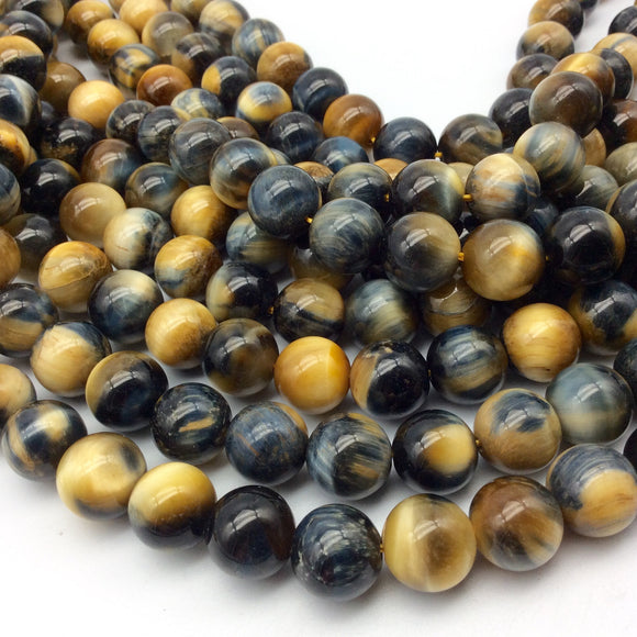 12mm Smooth Natural Gold/Blue Tiger's Eye Round/Ball Shape Beads W 1mm Holes - Sold by 15.5