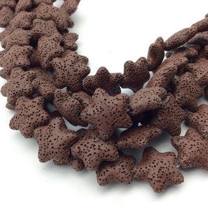 "Extra Small Starfish/Star Natural Brown Lava Rock Beads - 15"" Strand (Approximately 21 Beads) - Measuring 20mm x 20mm - Volcanic Stone"